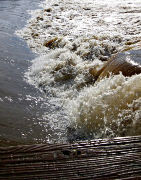 River Current at the Flooded Fish Ladder