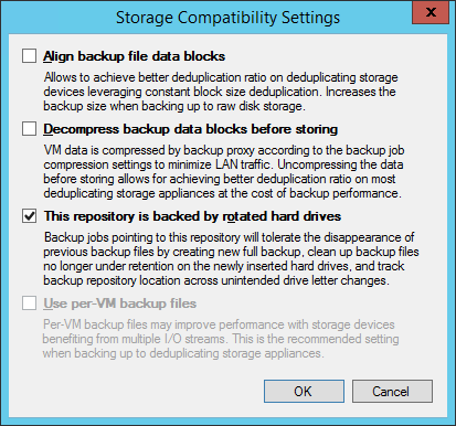 Veeam Storage Compatibility Settings