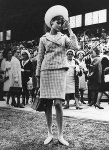 Model Jean Shrimpton in 1965 causing a stir for wearing a mini without stockings in Melbourne