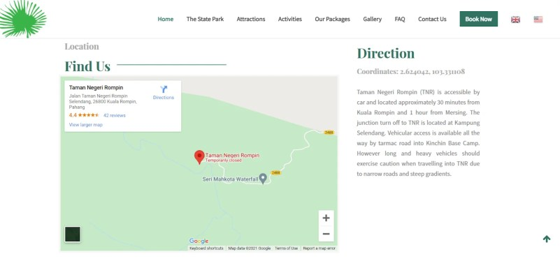 an image of embed google map on rompin park pahang malaysia website