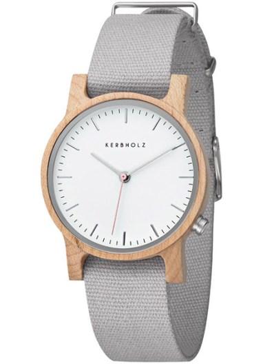 kerbholz-wilma-maple-light-grey-horloge-4251240407241-dames-houten-kast-grijze-canvas-band-witte-wijzerplaat