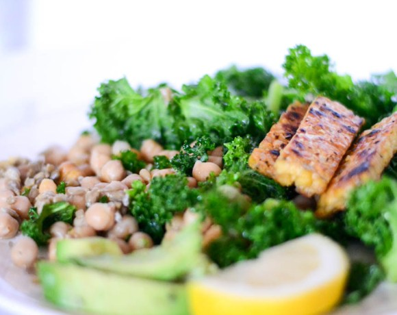 Lemon Infused Kale Salad with Grilled Tempeh