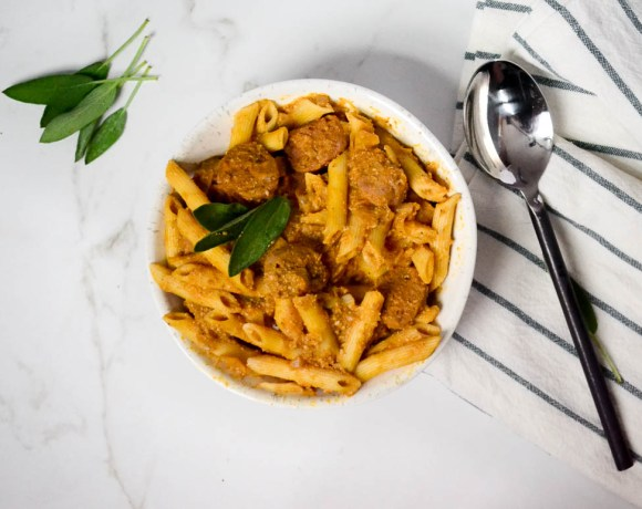 "Creamy Pumpkin Pasta with Spicy Italian ""Sausage"""