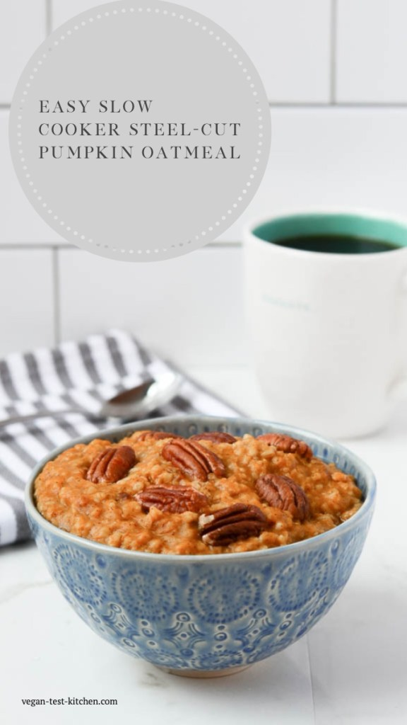 This recipe for overnight pumpkin oatmeal tastes just like pumpkin pie! It's our favorite overnight pumpkin oats recipe and only takes minutes to prepare. Just combine in your crockpot and it's ready in the morning!