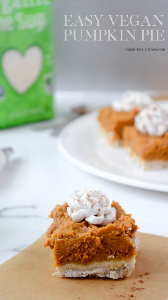 This easy vegan pumpkin pie recipe can be made two ways - as a pie or as bars! It's delicious either way. It's delicate, flaky almond cookie crust pairs perfectly with the pumpkin pie filling. It's a recipe you'll want to make more than once! Save it now, you're gonna love it.