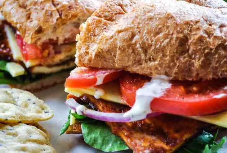 Super Tasty Baked Tofu BLT Sandwich! https://www.veganblueberry.com