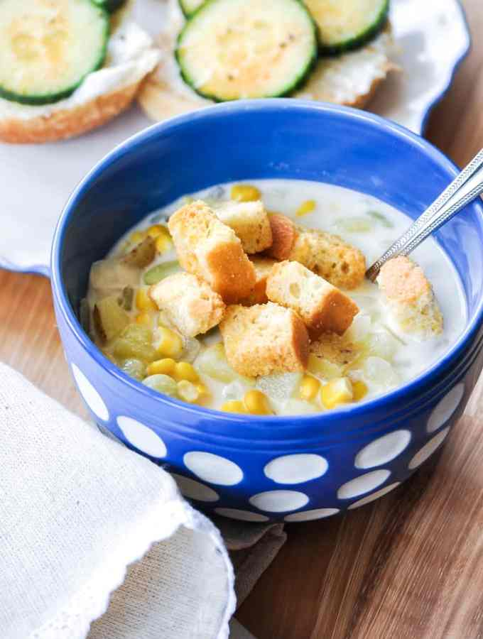 20 min Favorite Vegan Corn Chowder
