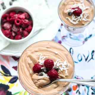 Easy Vegan Chocolate Mousse made with whipped Aquafaba and Coconut Cream