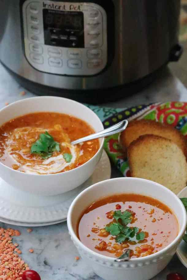 Vibrant Mediterranean Red Lentil and Chickpea Soup spiced with Harissa and cooked in an Instant Pot or slow cooker!