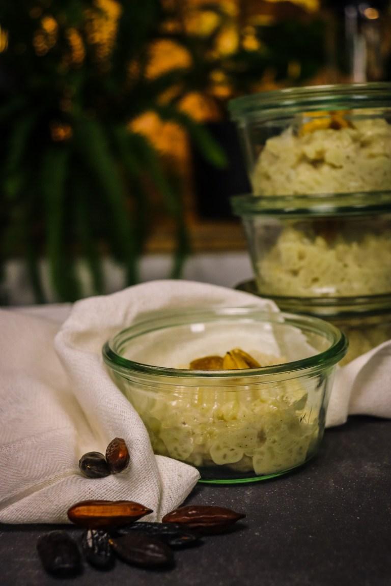 Riz au lait vanille et Tonka - vegen et végétalien facile