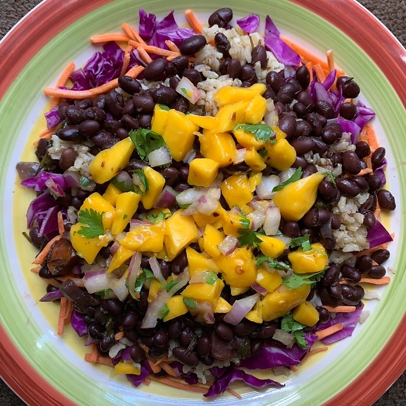 brown rice and black beans topped with fresh mango salsa display image  194f9613