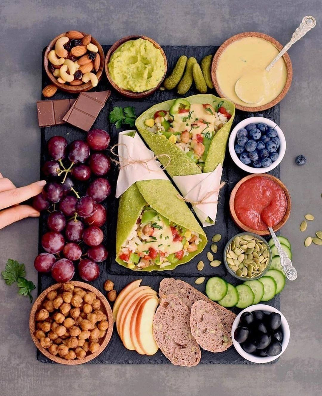 delicious vegan platter with homemade spinach wraps i also display image  80ac4f07