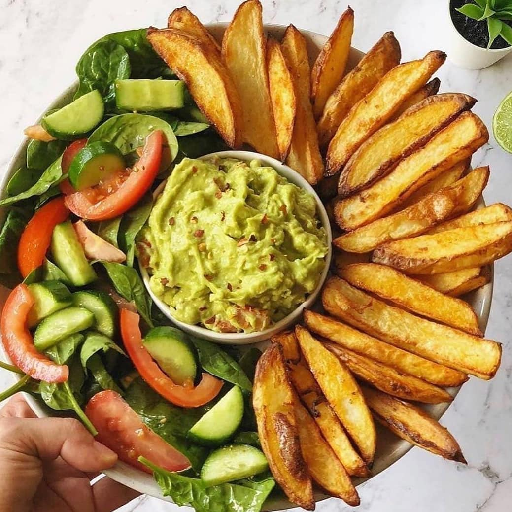 oven baked crispy fries and guacamole display image  38487f0d