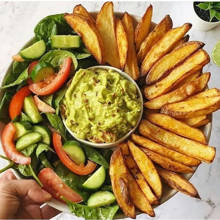 oven baked crispy fries and guacamole display image  a6571fb0