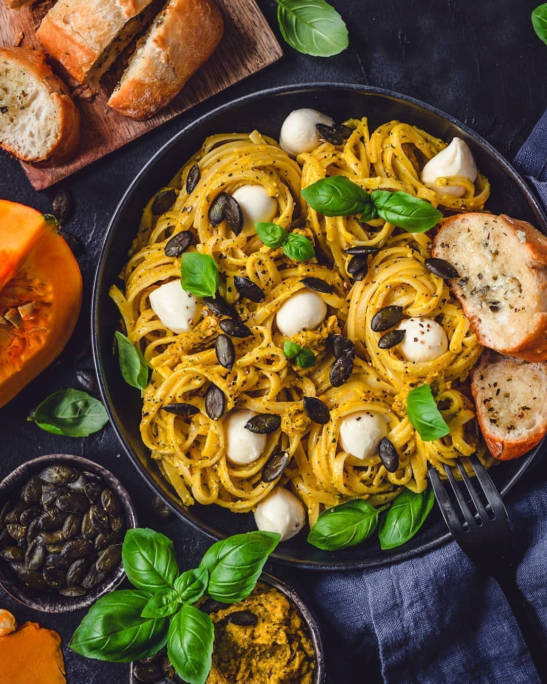 spaghetti with pumpkin pesto and baguette display image  d2c8d75e