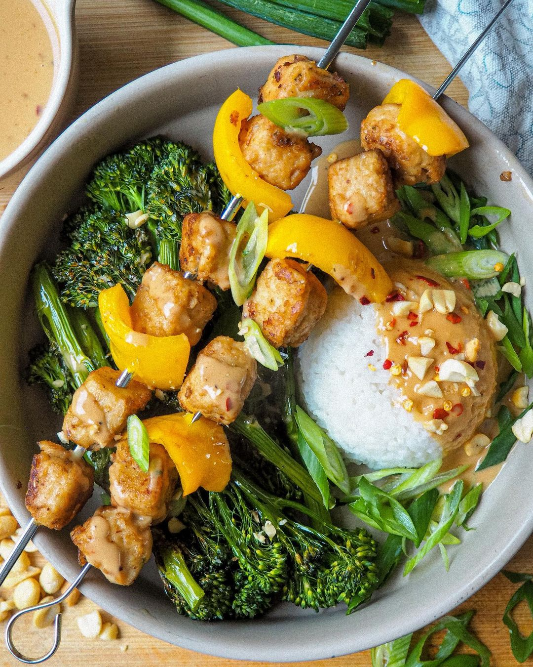 easy vegan satay chicken skewers with broccolini & rice display image  2c538ab6