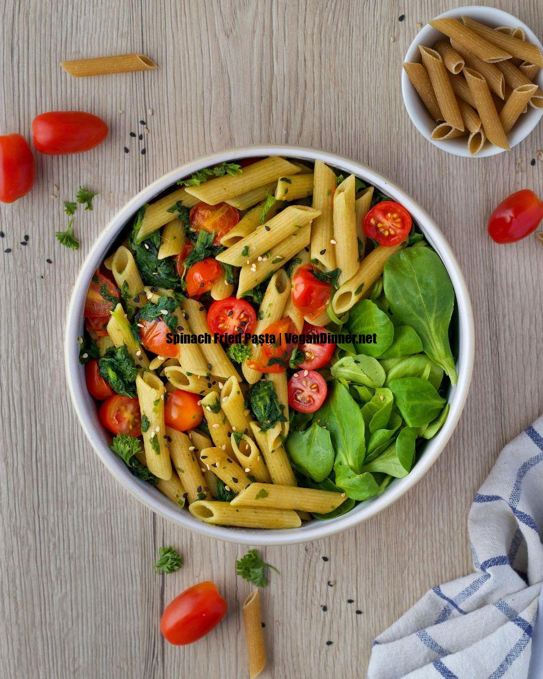 spinach fried pasta display image bcd