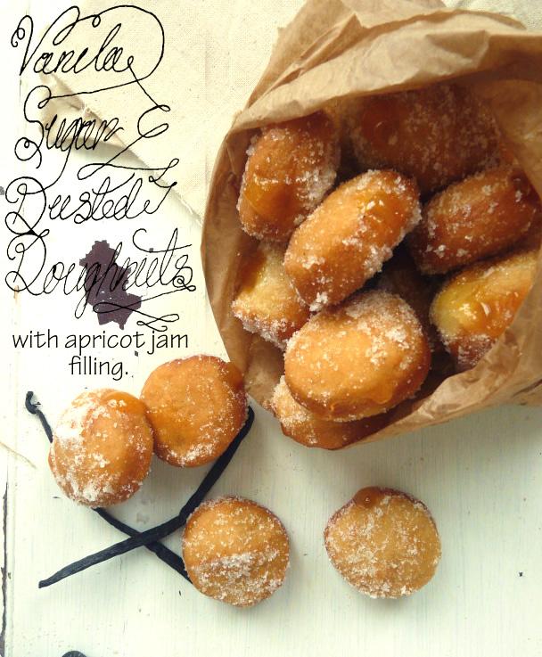 Vegan vanilla-sugar apricot doughnuts