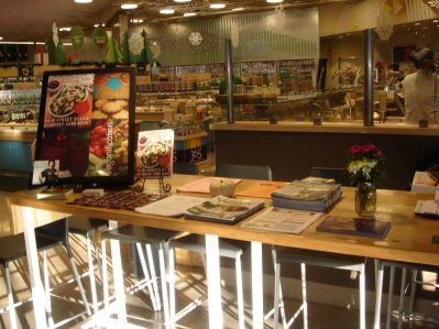 Whole Foods Demo Area for The Main Street Vegan Cookbook demonstration