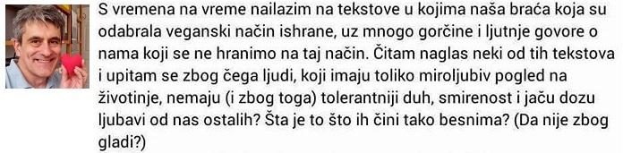 Goran Janjic pise protiv vegana