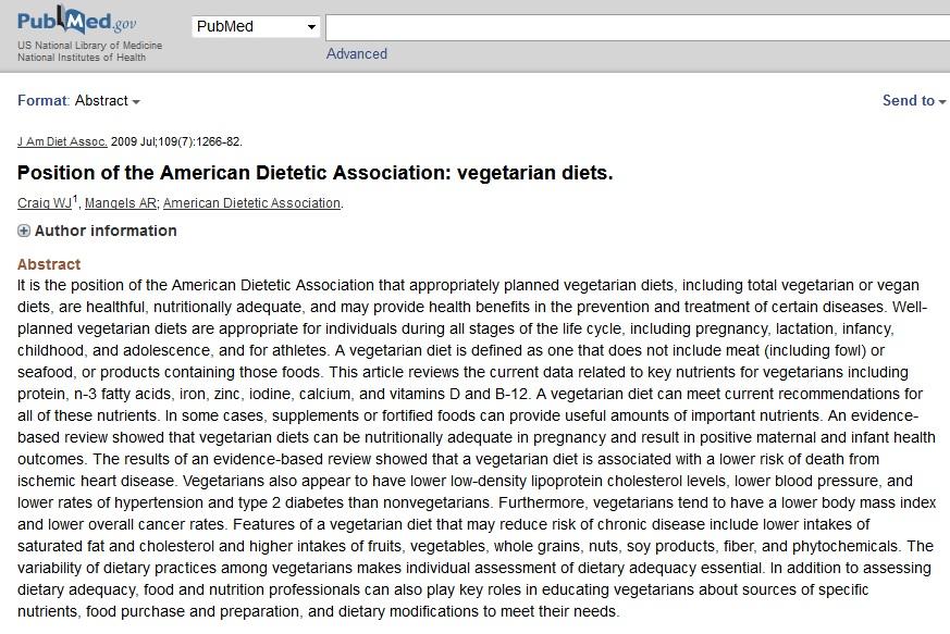 Naucnici o vegetarijanskoj dijeti