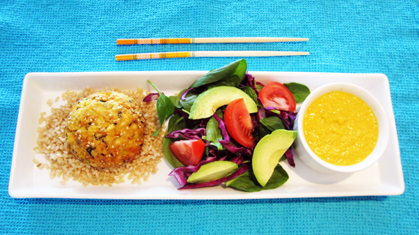 Hijiki Tofu Burgers with Carrot Ginger Dressing