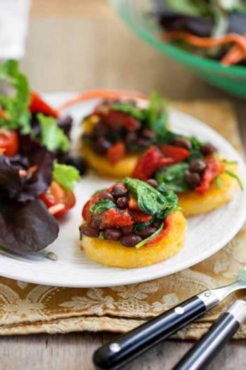 Polenta with Black Beans & Spinach, recipe by Nava Atlas, photo by Hannah Kaminsky