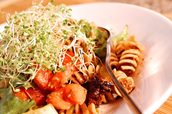 Pasta with Sundried Tomato Pesto and Sprouts
