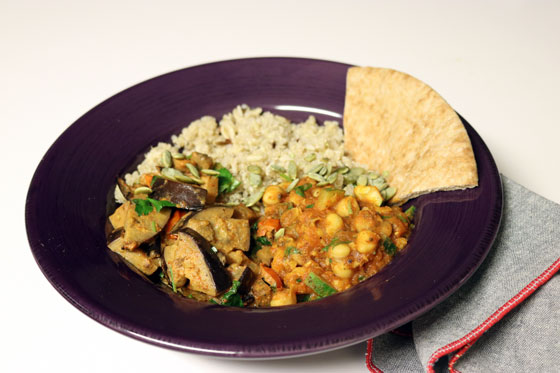 Curried Eggplant + Chickpea Dish