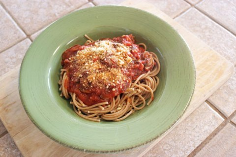Easy Vegan Spaghetti Bolognese from the College Vegan Cookbook