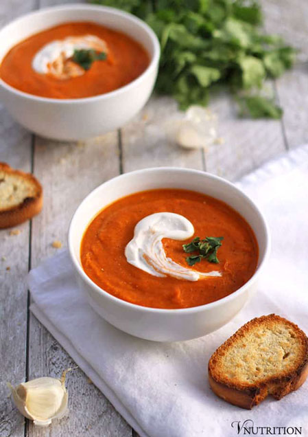 Roasted Tomato Chickpea Soup, by V Nutrition