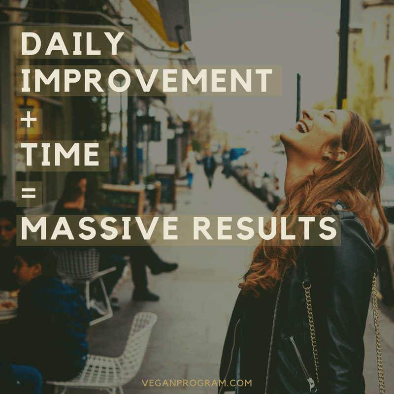 daily improvements time massive results veganprogram