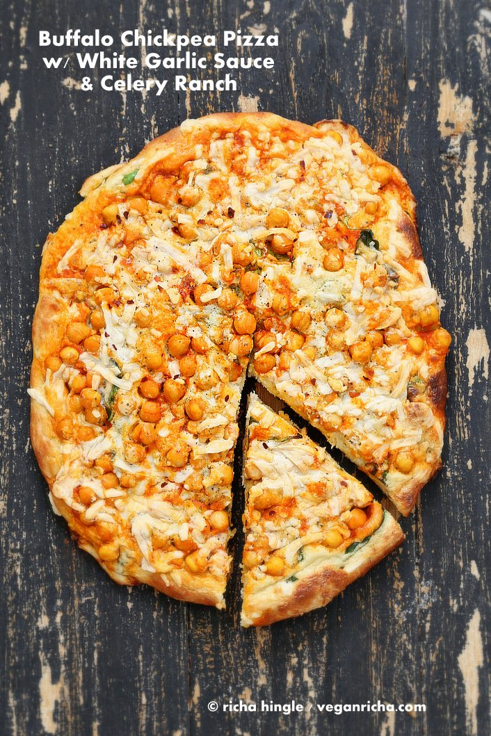 Buffalo Chickpea Pizza with White Garlic Sauce and Celery