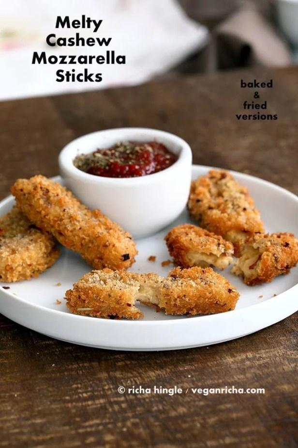 Vegan Cashew Mozzarella made into Mozzarella Sticks. Can be baked or fried - VeganRicha.com