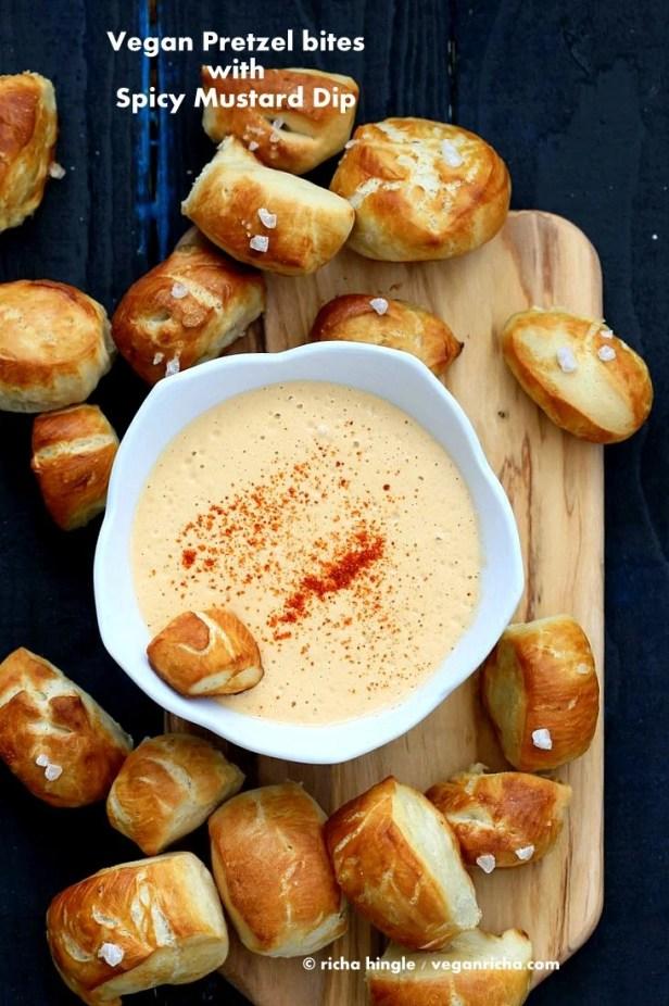 Easy Pretzel Bites with Spicy Mustard dip | VeganRicha.com
