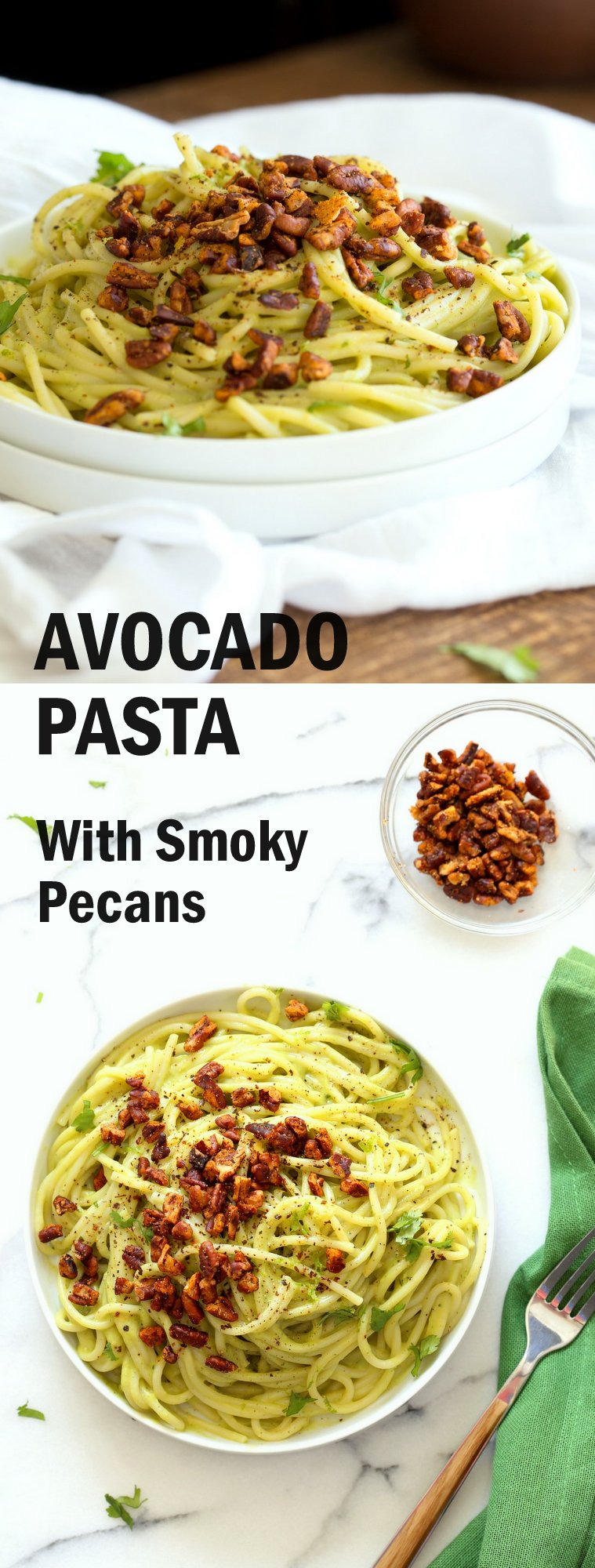 Vegan Avocado Pasta with Smoky Pecans. This 20 Minute Creamy Avocado Basil Sauce is great over spaghetti or zoodles. Serve with smoky spicy pecans for amazing flavor.  #Vegan #Soyfree #Recipe. Can be #nutfree. #veganricha | VeganRicha.com