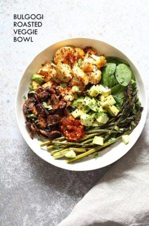 Bulgogi Roasted Spring Veggie Bowl. Spicy, sweet Korean Gochugaru blend roasted Cauliflower Mushroom Asparagus Bowl. #Vegan #Glutenfree #Nutfree #Recipe #VeganRicha | VeganRicha.com