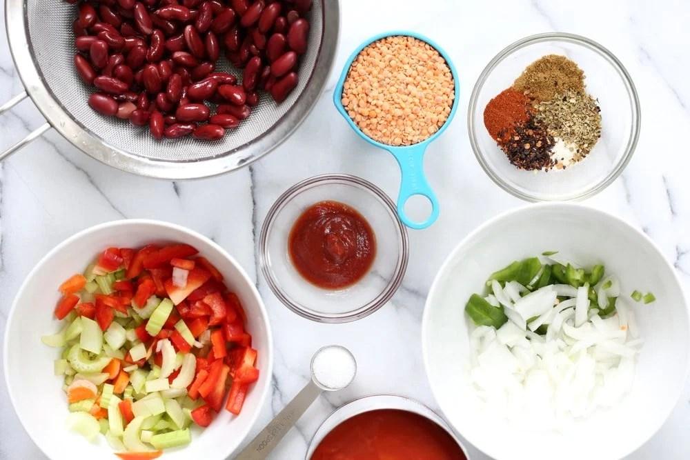 Instant Pot Vegan Chili - Oil-free Kidney Bean Red Lentil Chili. Easy Bean Lentil Soup. #Vegan #Glutenfree #Nutfree #Soyfree #Recipe #veganricha | VeganRicha.com