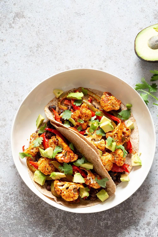 Sheet Pan Fajitas. Tacos with Fajita Veggies with Chipotle Fajita Sauce. #Vegan #Glutenfree #Soyfree Nutfree #Recipe #VeganRicha