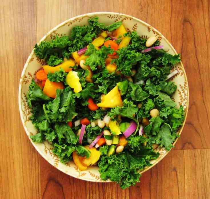 Kale and cannellini bean salad with homemade oil-free ginger-miso dressing. #kalesaladrecipes #homemadedressingrecipes #gingermisodressing #vegandressingrecipes