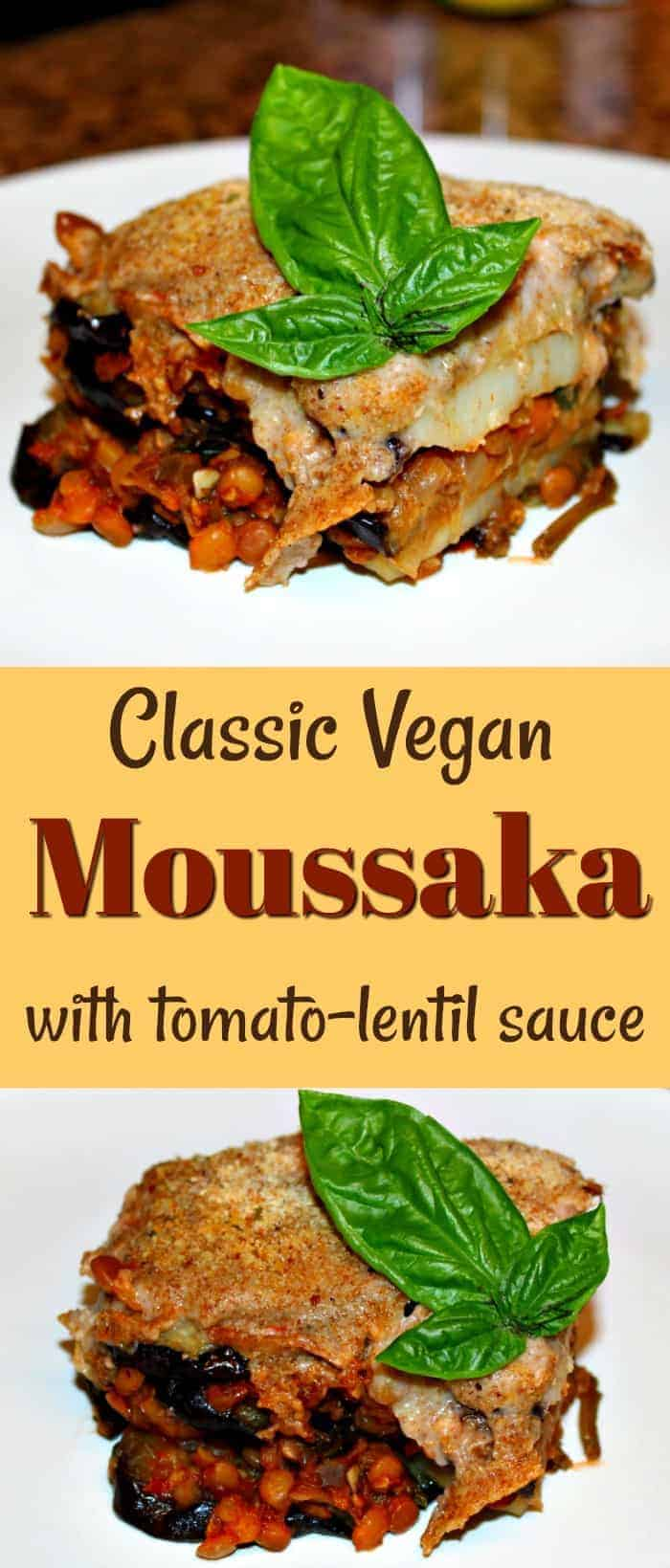 This delicious vegan moussaka is made with layers of roasted eggplant and potatoes with lentil-tomato sauce and finished with vegan bechamel sauce. A plant-based twist on a classic Greek recipe. | vegan moussaka recipe | vegan dinner recipes | vegan main course | vegan Greek recipes | plant-based recipes | oil-free recipes | wfpb recipes | #veganmoussaka #vegandinner #vegandinnerrecipes #veganfood #vegancasseroles #wfpbrecipes #vegetarianmoussaka #vegetarianrecipes