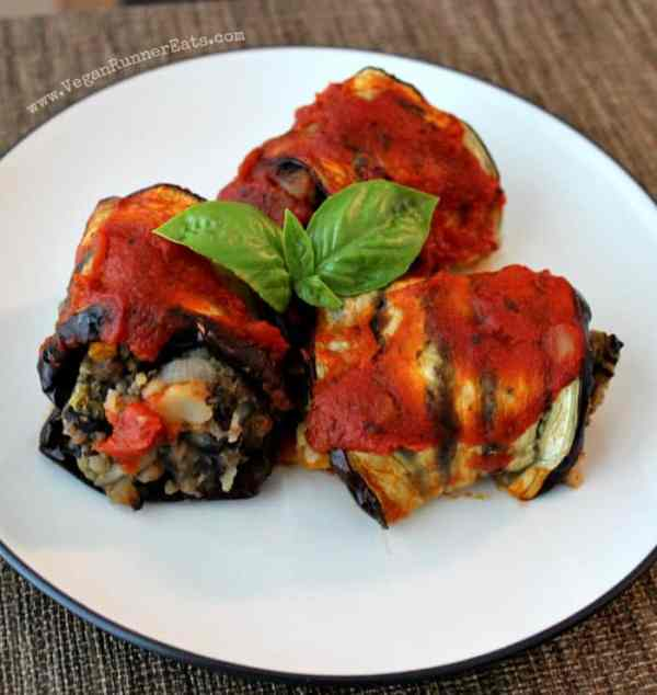 Eggplant roll ups with veggie & potato stuffing