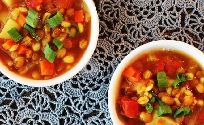 Vegan Barley-Lentil Soup with Potatoes