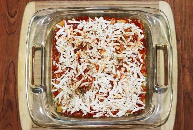 Lasagna before baking