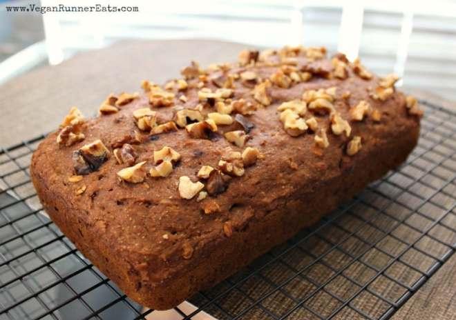 Oil free vegan pumpkin walnut bread recipe