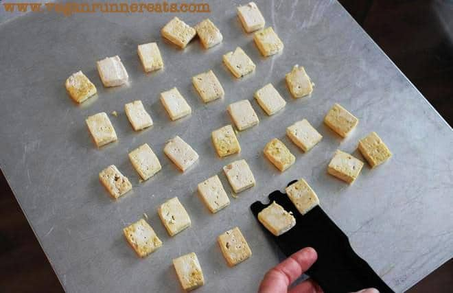 Tofu baked on one side