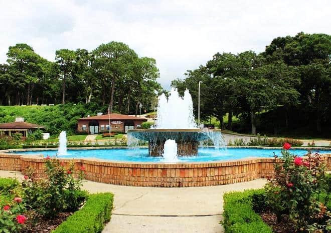 Rose garden and fountain