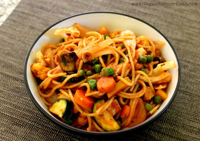 Easy vegan pasta primavera recipe with tofu or vegan sausage