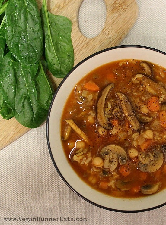Hearty Chickpea, Mushroom and Rice Soup from egan Runner Eats