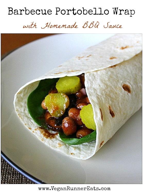 Vegan Barbecue Portobello Wrap with homemade BBQ sauce